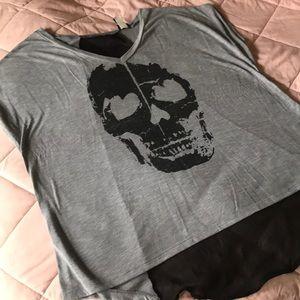Sheer back skull T-shirt